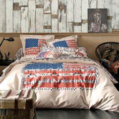 Housse de couette coton imprimé drapeau américain inspiration NAVAJO