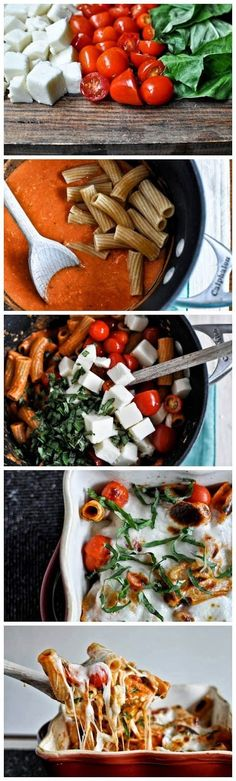 Creamy caprese pasta. Makes 4 servings. 561 calories, 11g fat per serving made with part skim mozzerella and half and half.
