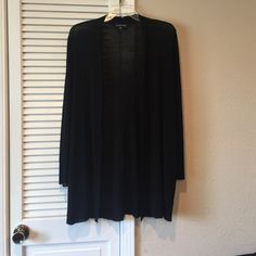 Eileen Fisher line knit cardigan Long black open cardigan. Finely knit linen blend. Size small but can fit up to a large Eileen Fisher Sweaters Cardigans