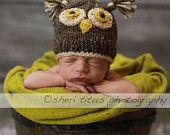Newborn photography idea - owl hat $16.50, via Etsy.