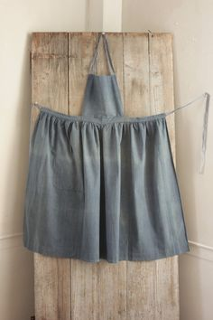 Antique French Country blue APRON  cotton chambray  Indigo blue c1880 chore wear #Country
