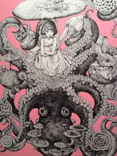 Yuko Higuchi's artwork combines so many of our favourite things, such as tentacles, cats and anthropomorphism, that looking at her drawings feels like we've fallen down a rabbit hole created just for. Art And Illustration, Octopus Art, Kraken, Art Design, Asian Art, Japanese Art, Alice In Wonderland, Artwork, Cool Art