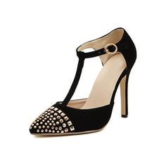 Black T Strap Metallic Embellished High Heeled Pumps (2,095 INR) ❤ liked on Polyvore featuring shoes, pumps, high heeled footwear, embellished pumps, embellished shoes, decorating shoes and high heel court shoes