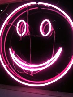 Pink neon Smiley face