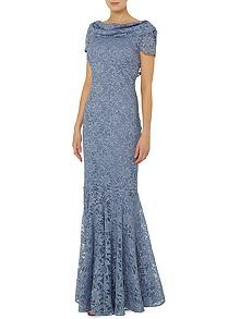 Lace cowl neck gown