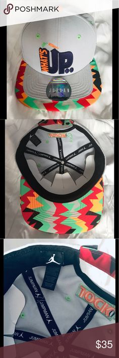 68681c47189 JORDAN WHAT S UP JOCK CAP This multicolored SnapBack cap is beautifully  embroidered. It has an