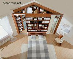 idée d'aménagement maison : un dressing dans un coin de chambre, caché par un meuble bibliothèque en tête de lit