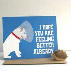 Dog with Cone Card by lafamiliagreen on Etsy