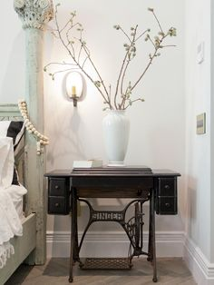 sewing machine as bedside table