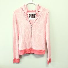 Victoria's Secret PINK Zip Up Hoodie Lightweight hoodie. It's been worn a bit and has a very faint mark on the front (last photo) but overall in good condition. PINK Victoria's Secret Tops Sweatshirts & Hoodies