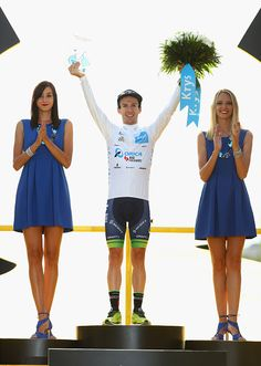 Adam Yates of Great Britain and Orica Greenedge wins the award for best young rider following stage twenty one of the 2016 Le Tour de France from...