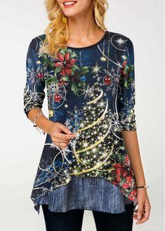 0c5c4a5c1f6 Asymmetric Hem Sequin Embellished Christmas Print T Shirt