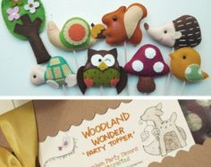 Set of 4 WOODLAND WONDER Custom Party Topper, Party Favors, cupcake topper, woodland theme party, birthday party decor, baby shower favors