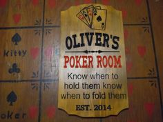 Man Cave Poker Room Sign Personalized Wooden by TKWoodcrafts, $54.95