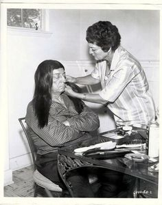 Buster having his hair done for Chief Rotten Eagle  in Pajama Party. 1964
