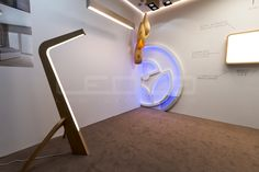 woodLED SLEDGE - exclusive floor LED wooden lamp at the Slovak exhibition of furniture and living Wooden Lamp, Made Of Wood, Lamps, Flooring, Led, Storage, Furniture, Home Decor, Light Fixture