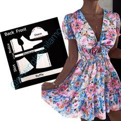 Dress Sewing Patterns, Pattern Dress, Draped Skirt, Mermaid Skirt, Panel Dress, Asymmetrical Tops, Short Tops, Dress With Bow, Vintage Skirt