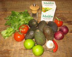 Ingredients for homemade guacamole http://theproofofthepudding.net/2014/03/21/guacamole-and-pinto-bean-dip/