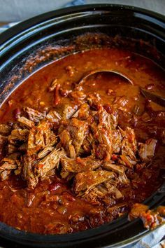 The Best Chili Recipe I've Ever Made (Slow Cooker) from The Food Charlatan. The best chili recipe ev Chilli Recipes, Meat Recipes, Seafood Recipes, Mexican Food Recipes, Healthy Recipes, Pork Chili Recipe, Slow Cooker Recipes, Shredded Beef Chili Recipe, Beanless Chili Recipe