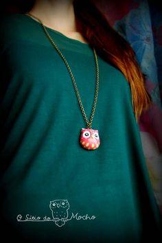 Pink owl head necklace. Handmade.