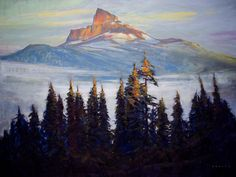 """'The Tusk from Across the Valley' 36"""" x 48""""  Acrylic on Canvas  Artist Charlie Easton"""