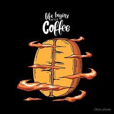 'slogan with cool coffee beans' by Chris olivier Fresco, Coffee Illustration, Lema, Ipad Art, Coffee Design, Artwork Design, Coffee Art, Coffee Beans, Decorative Throw Pillows