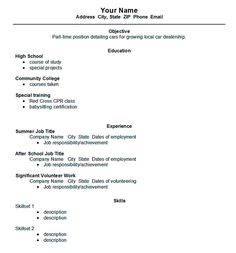 find this pin and more on resume samples - High School Resume Template Word