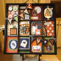 Halloween Printer's Tray - the little banners add another layer of dimension Halloween Shadow Box, Up Halloween, Halloween Cards, Halloween Decorations, Halloween Frames, Halloween Projects, Shadow Box Kunst, Shadow Box Art, Box Frame Art