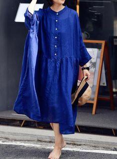 Women midi skater Dresses, summer Linen dress, prom dress, blue dress