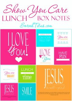 Printable Lunch Box Notes for Kids- such an easy, fun way to let your kids know that you care and are thinking about them.  Love it!