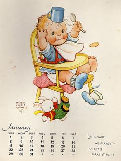 ¤ Calendar by Mabel Lucie Attwell - January 1967