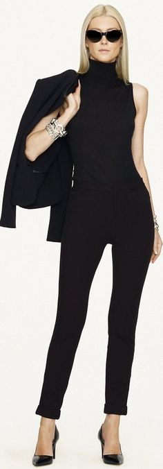 Cool and in charge  Business casual - work outfit - office wear - all black - black pants + black sleeveless turtleneck top + black blazer - Ralph Lauren ● 2013