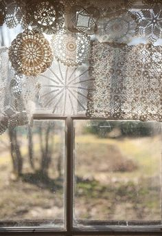 use what you already have  Lace window treatment