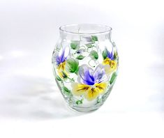 Excited to share this item from my shop: Hand-painted Clear Glass Vase with Floral Pansy Design Antique Items, Vintage Items, Clear Glass Vases, White Leaf, Vintage Easter, Vintage Home Decor, Pansies, House Warming, Entryway