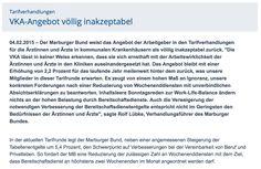 04.02.2015 – Der Marburger Bund weist das Angebot der Arbeitgeber in den Tarifverhandlungen für die Ärztinnen und Ärzte in kommunalen Krankenhäusern als völlig inakzeptabel zurück.