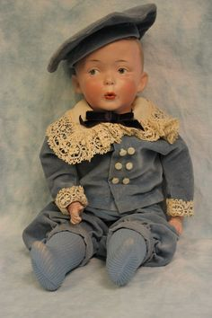 """15"""" Gebruder Heubach Whistler boy Works Large size Repaired Boo Boo bargain"""