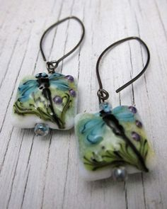 BLUE DRAGONFLY  Lampwork Earrings Murano by SusanHeleneDesigns