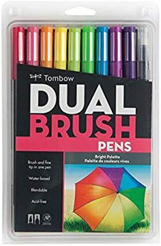 Amazon.com: Tombow 56185 Dual Brush Pen Art Markers, Bright, 10-Pack. Blendable, Brush and Fine Tip Markers