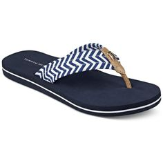 Tommy Hilfiger Chill Flip-Flops ($29) ❤ liked on Polyvore featuring shoes, sandals, flip flops, blue, tommy hilfiger, blue shoes, tommy hilfiger footwear, chevron shoes and blue sandals