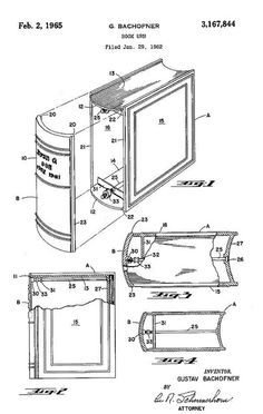 Interesting-1965 Patent drawing for a Book Urn