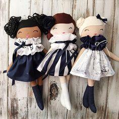 Amazing trio of handmade dolls by SpunCandy  #spuncandydolls #handmadedolls #clothdolls #fabricdolls