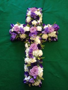 2ft lilac and purple cross. Funeral flowers