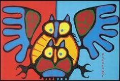 Owl Family by Norval Morrisseau Native Canadian Artist kK Arte Inuit, Arte Haida, Haida Art, Inuit Art, Native Art, Native American Art, Native Canadian, Canadian History, Woodland Art