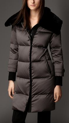 Fur Collar Down-Filled Puffer Coat | Burberry London