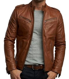 Handmade Men brown biker leather Jacket Men biker by ukmerchant, $159.99. blue jeans. grey cotton t shirt