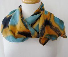 Chevron and Circles Itajime Shibori Crinkle Silk Scarf by DianneKoppischHricko on Etsy