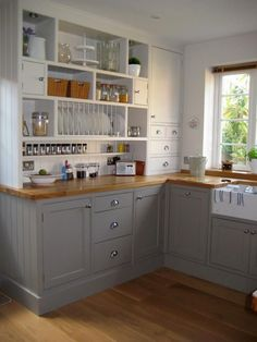 **I like the gray and am really starting to like the wood looking countertops** Farrow & Ball Colours Skimming Stone and Charleston Gray - ..