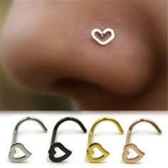 Purchase 1 Pc Stainless Steel Heart Shape Piercing Nose Ring Fashion Unisex Punk Jewelry from Aofa on OpenSky. Share and compare all Jewelry. Nose Piercing Jewelry, Body Piercing, Ear Piercings, Septum Piercing Girl, Unique Piercings, Piercing Ideas, Punk Jewelry, Jewelry Rings, Body Jewellery