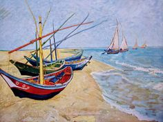 Vintage Van Gogh art print Fishing Boats.