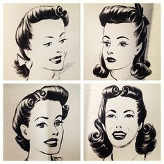 Vintage pin up hair styles Look Vintage, Vintage Mode, Vintage Beauty, Vintage Makeup, Victory Rolls, 1940s Hairstyles, Wedding Hairstyles, Everyday Hairstyles, Historical Hairstyles